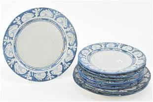 9 Dedham art pottery rabbit border plates. [6] 8.5