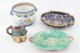 Glazed pottery including seahorse mythology flower pot,