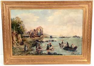 Alexey Bobylev. Fishermen coastal village scene. Oil on