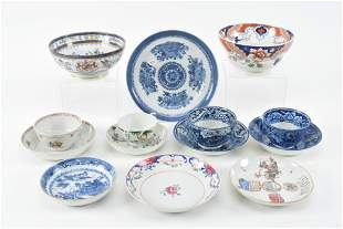 14 Pieces of Asian export and English ceramics,