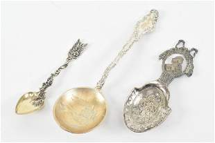 Trio sterling silver spoons. 19th & 20th Century.