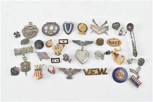 Sterling silver and military pins and medals including