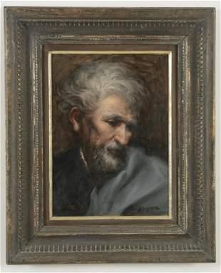 Portrait of an elderly man. Oil on board. Signed lower