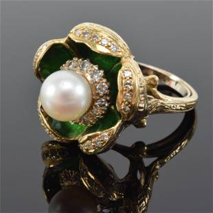Gold, diamond, and solitaire pearl enameled floral