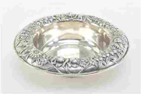 S. Kirk & Son sterling silver bowl with floral repousse