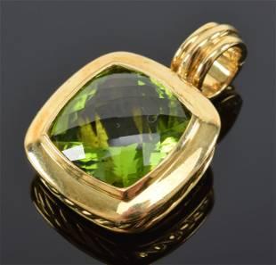 18K David Yurman gold and peridot pendant, DY 750.