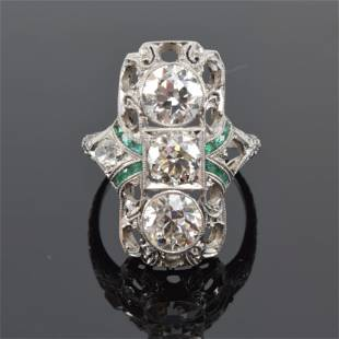 Art Deco/Edwardian platinum and diamond ring, three old