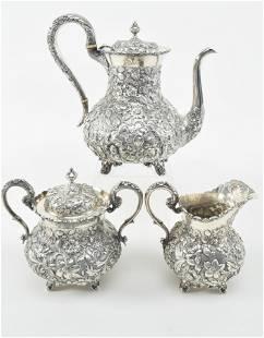 3 piece sterling silver stipple ground allover floral