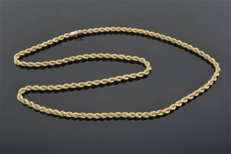 14K gold rope twist necklace. Length, 30†47.4 dwt.