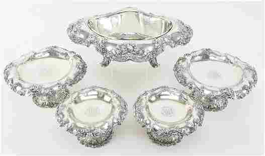 Exceptional Gorham sterling silver 5 piece ornate table