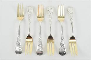 6 Vansant & Co. silver pie forks. Gold washed fork head