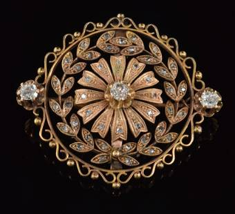 14K gold diamond pendant brooch. Bead and scroll outer