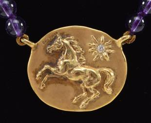Harriet Glen 9K gold horse medallion necklace, amethyst