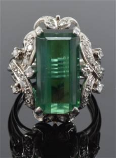 14K white gold tourmaline and diamond ring, bias set