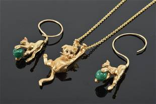 Pair of 14K gold cat earrings, cats playing with