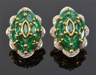 Pair of 18K gold diamond and emerald ear clips with
