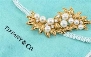 Tiffany & Co. 18K gold diamond and pearl pin, foliage