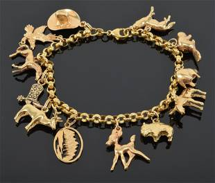 14K yellow gold charm bracelet, simple links with with