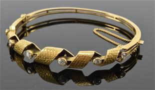 Edwardian 14K gold and diamond youth size bracelet,