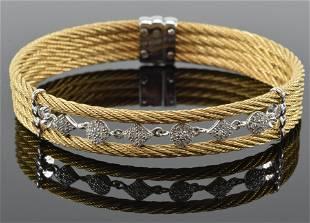 CHARRIOL 18K gold and diamond bracelet, spring form