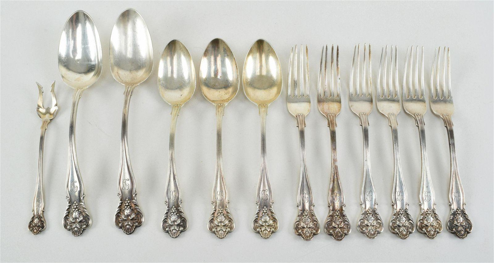 William Durgin art nouveau sterling silver flatware.