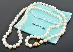 Tiffany & Co pearl necklace, Length 24in 6.5 mm Clasp