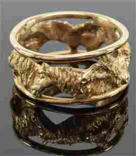 14K Gold open design ring, horses heads around. Signed