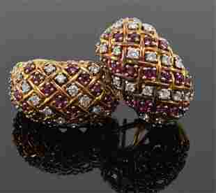 Pair of Tiffany & Co. 18K gold diamond and ruby domed