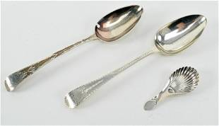 English Georgian sterling silver spoons. To include: 1)