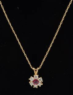 14K gold ruby and diamond pendant necklace, the small