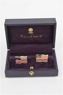 Pair of 18K gold and enamel cufflinks, American Flags,