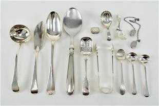 13 piece lot of silver. 1) Georgian silver ladle.