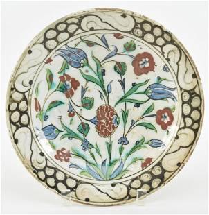 Pottery plate. Ottoman Turkish. Iznick ware. 17th