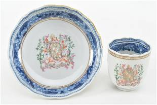 18th century Chinese export porcelain armorial cup and