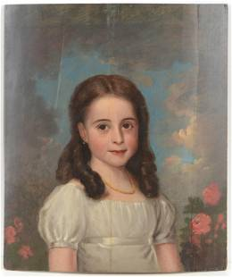 19th century American school portrait of a young girl