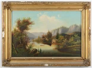 19th century American School Hudson River landscape