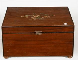 Monopole walnut and floral painted cased disc music