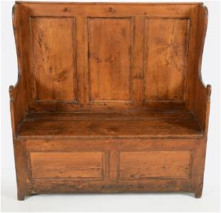 18th Century Pine panel back bench with blanket chest.