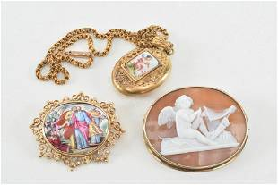 3 pieces of vintage gold jewelry. 1) Cameo pin of
