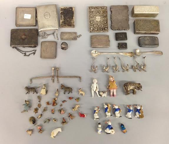 Assorted Sterling Silver - card case, box, figures, etc