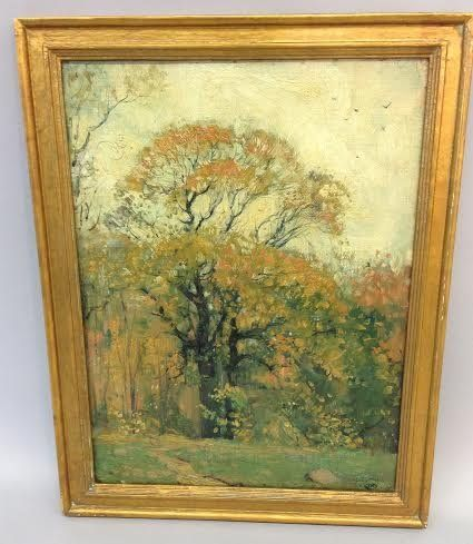 Hermann Dudley Murphy, Autumn Landscape painting, oil.