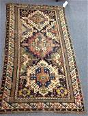 Antique Caucasian Scatter rug Wear 4 x 7 1