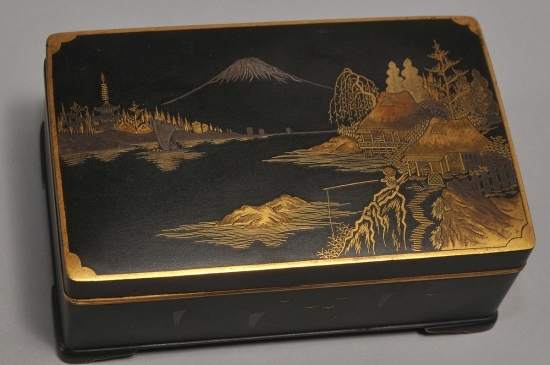 Komei Inlaid Iron box. Japan, with inscription
