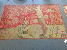 Antique Chinese Oriental rug depicting birds and stars