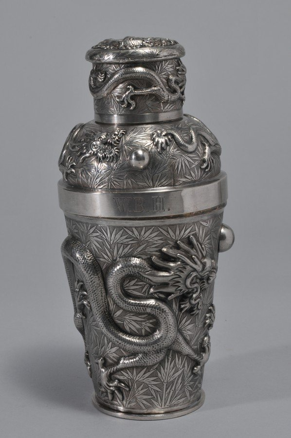 19th century Chinese Export Silver Cocktail Shaker with