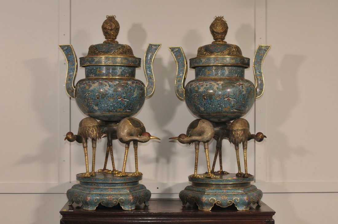 Pair of large Cloisonne incense burners. China.