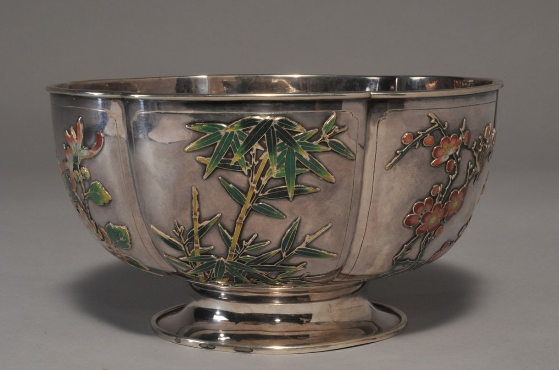 Chinese Export Silver Lobed bowl with enameled bird,