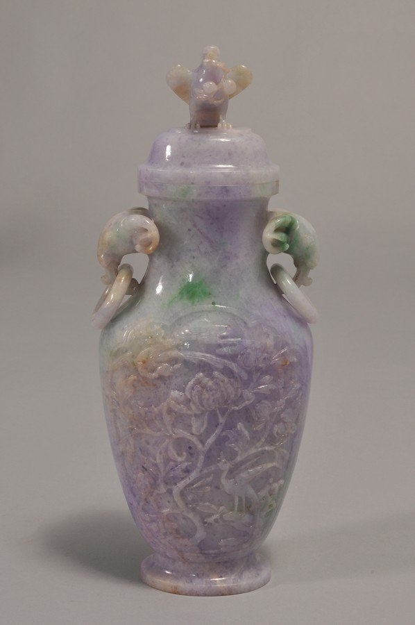 19th/20th century Chinese carved Lavender Jadeite