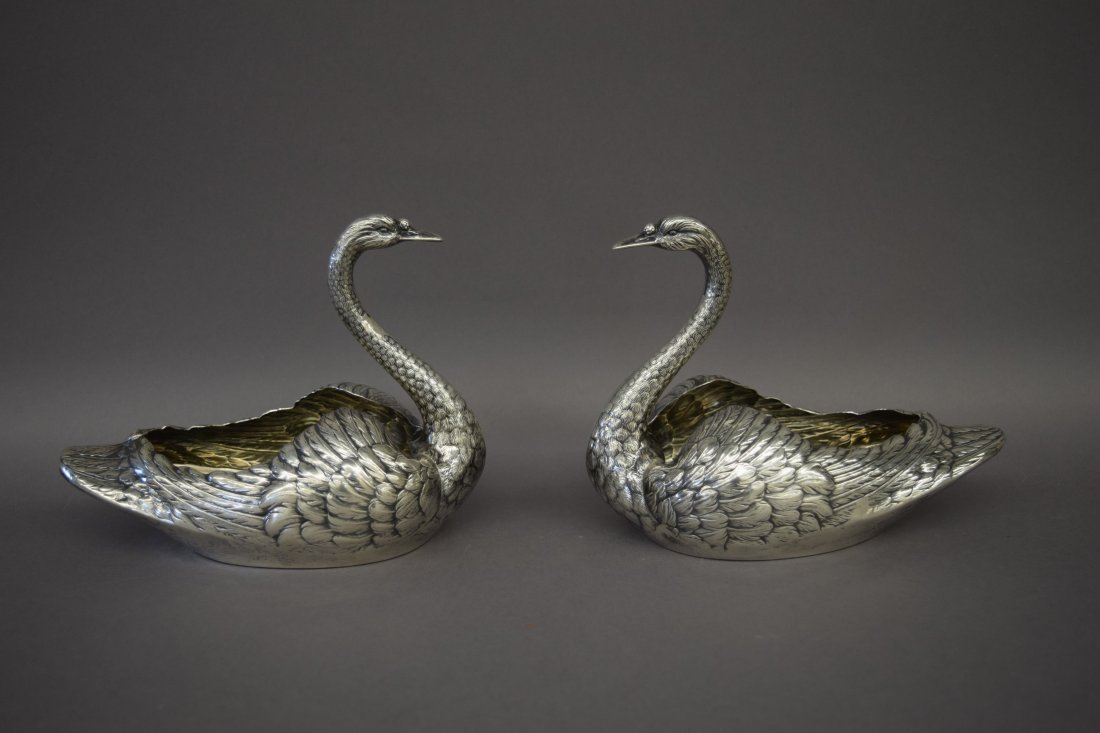 Pair of Gorham sterling silver figural swan form
