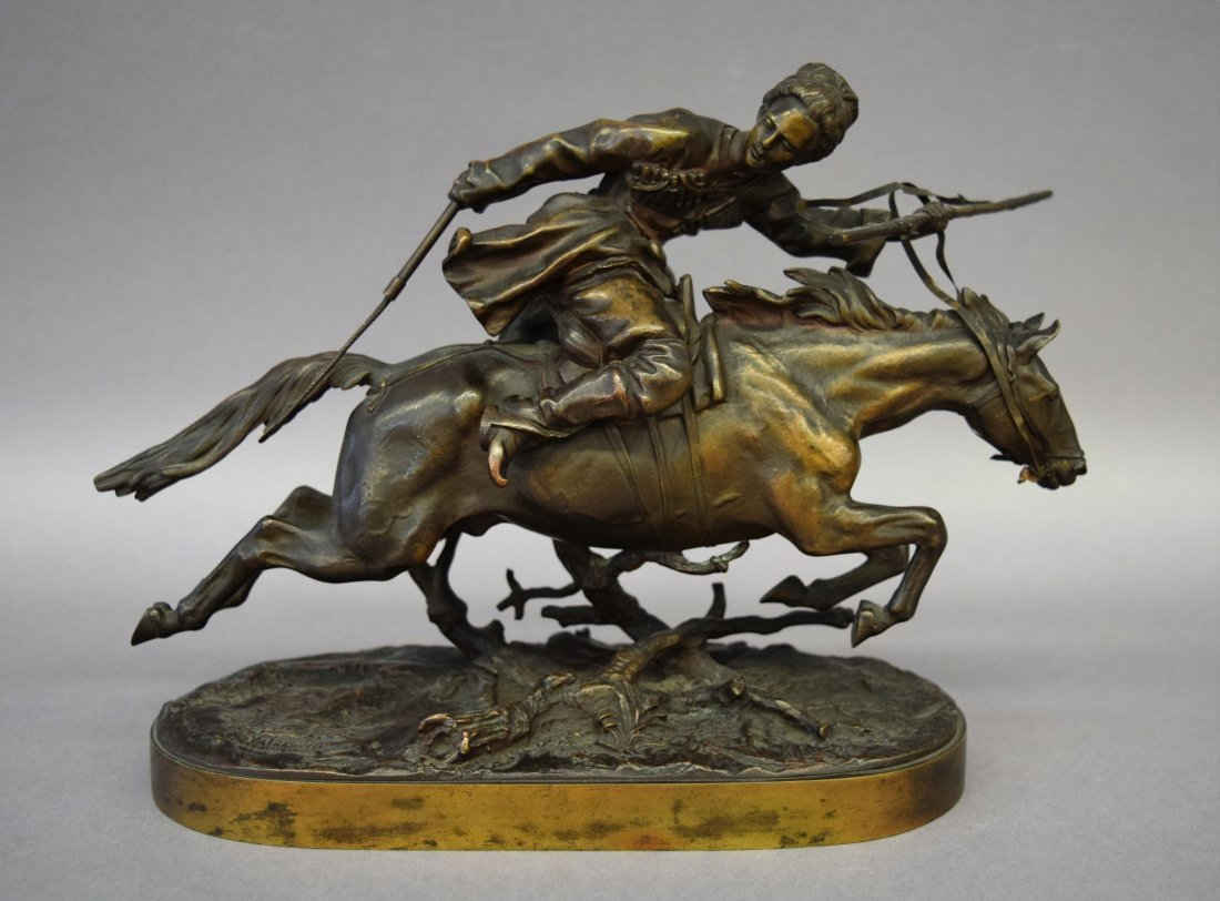 Evgeni Alex Lanceray. Bronze sculpture of a Cossack on